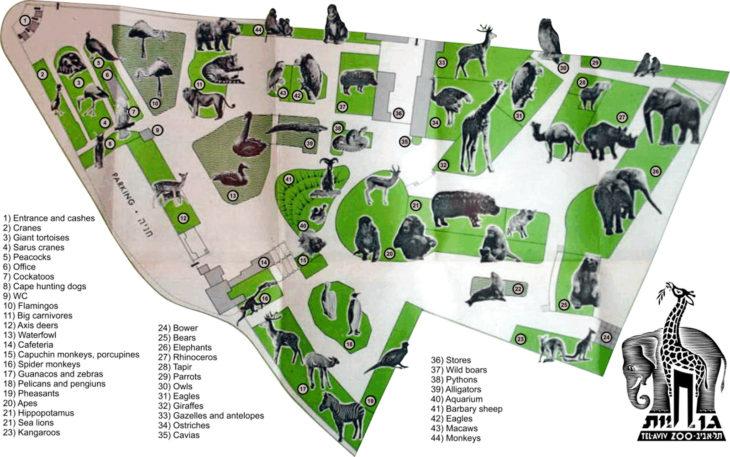 Карта зоопарка Тель-Авива
